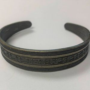 Pewter Cuff Bracelet Etched Scroll Tribal